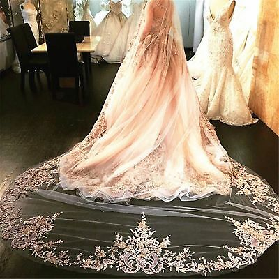 Champagne Wedding Veils Cathedral Long 1T Appliques With Comb Bridal White