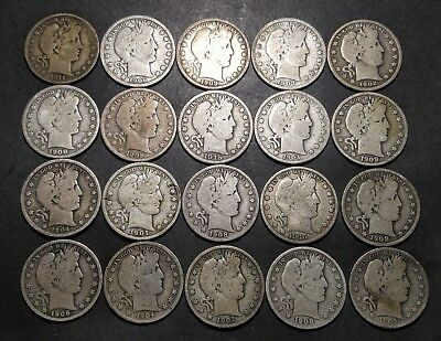 Barber Half Dollar Roll of 20 Coins NICE COINS!! (Lot C)