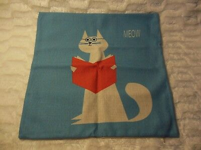 """Cat Pillow Case 17"""" Square NEW Cat Book Blue"""
