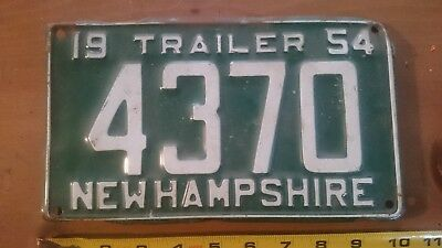 NEW HAMPSHIRE License Plate 1954 Trailer NH 4307