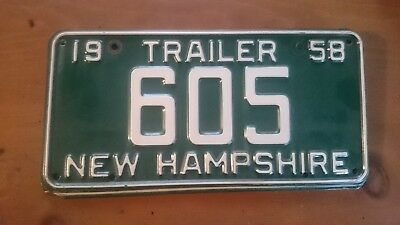 NEW HAMPSHIRE License Plate 1958 Trailer NH 605