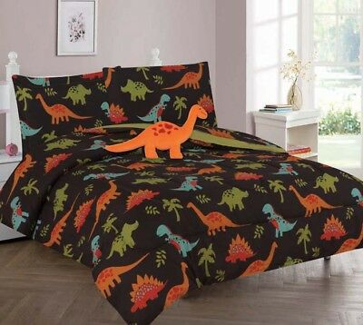 Brown Dinosaur Full or Twin Kids Comforter Bed Set With Plush Toy and Sheet Set