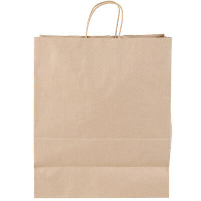 """Duro Kary 9"""" x 5 3/4"""" x 13 1/2"""" Brown Shopping Bag with Handles - 100/Pack"""