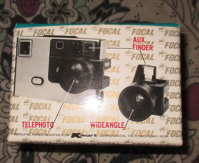 Focal Auxiliary Lens Set Telephoto and Wideangle Lenses (Kodak Disc Cameras)