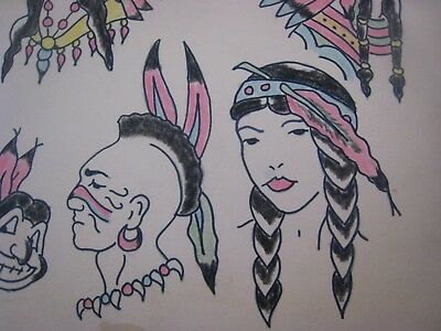 Vintage Tattoo Flash...Chiefs...11'' x 14 '' Hand colored