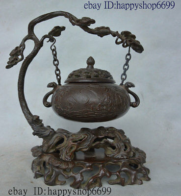 Old Chinese Dyansty Palace Purple Bronze Suspension Incense Burner Censer Statue
