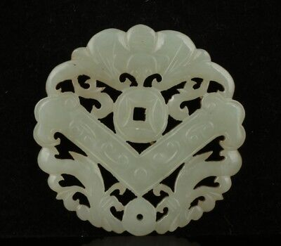 Chinese Exquisite Hand-carved bat Coins Carving Hetian jade Pendant