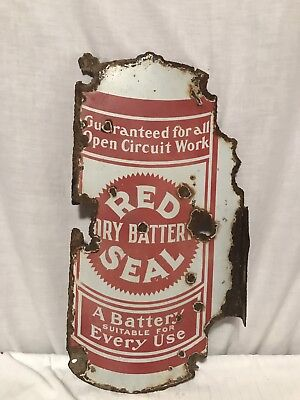 Antique Rare Red Seal Dry Battery Double Sided Porcelain Flanged Sign