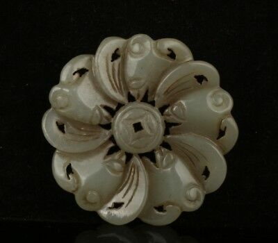 Chinese Exquisite Hand-carved bat Carving Hetian jade Pendant