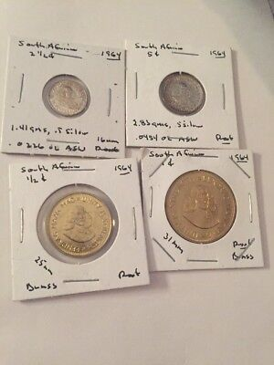 South Africa 1964 Coins Proof Silver And Brass 4 Coin Lot #209