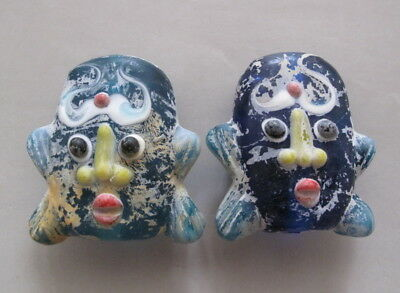 Pair of Excellent China Peking Glass Carved Colored face Pendant statue