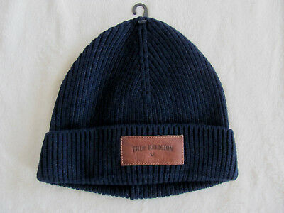 7986e732286c0 True Religion Ribbed Knit Beanie Watch Cap-Wool Blend-Navy Blue-One Size