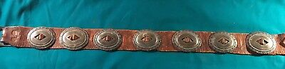 Antique First Phase Silver Concho Belt