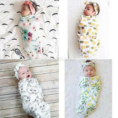 US Baby Infant Kids Swaddle Cocoon Wrap Cover Blanket&Headband Set Photo Props