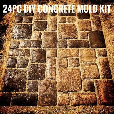 24 MOLDS (7 Sizes) TUSCAN STONE PATTERN CONCRETE PAVERS GARDEN PATIO TILES