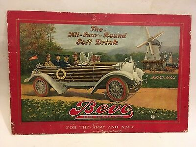 Rare 1920 Automobile Advertising Bevo Beverage Sign Anheuser Busch Beer