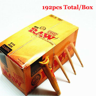 32Pack Cones RAW Natural Classic 1 1/4 Unrefined Rolling Papers 192pcs Total/Box