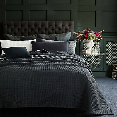 New 100% Cotton Large Chunky Waffle Blanket Bedspread Bed Throw Rug Charcoal