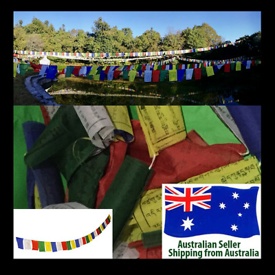 Traditional Multicolour Tibetan Buddhist Spiritual Prayer Flags - 25 Flags - 4m