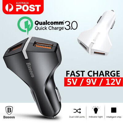 Dual USB QC3.0 Fast Car Charger For Samsung Galaxy S10 + S9 S8 Note 9 iPhone XS