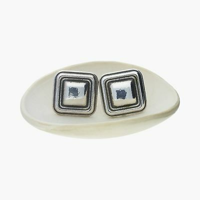james avery / sterling silver vintage retired square clip-on / earrings (15g)