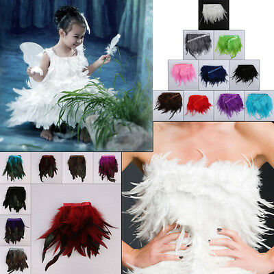 Rooster Hackle Coque Feather Fringe Craft Trim 18Colors Sewing Costume Millinery