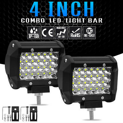 """1x 4"""" 72W 4 Row LED Work Light Bar Flood Combo Pods Driving Off-Road Tractor 4WD"""