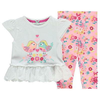 Baby Girls Broderie Anglaise T-Shirt & Leggings Set ~ 0 to 24 Months