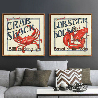 2 Piece Wall Art Set Digital Canvas Prints Marine Animals Crab, Lobster Unframed
