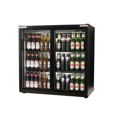 Autonumis A210101 EcoChill Maxi Black Sliding Double Door Bottle Cooler (New)