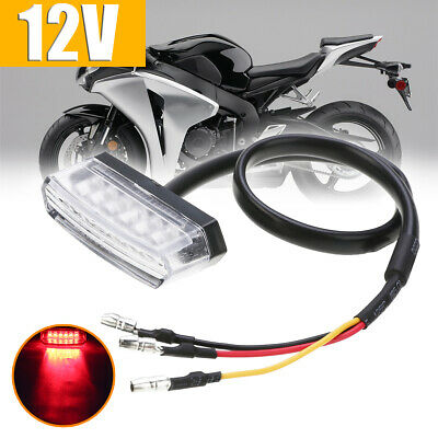 Red Motorcycle 12V 6LED Rear Number License Plate Tail Light Lamp Clear Lens