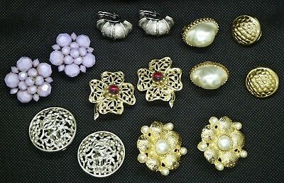 Large Lot of Vintage Clip On Earrings Coro, Emmons,Sarah Coventry,West Germany