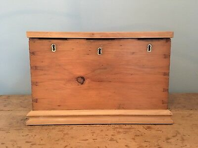 Antique Victorian pitch pine strong box / chest with secret drawer 43 x 30cm