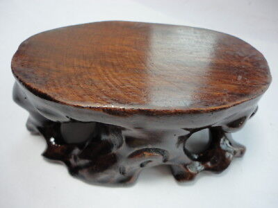 CHINESE BLACK HARDWOOD NICE CARVED BONSAI POT/VASE STAND 95mm S AU