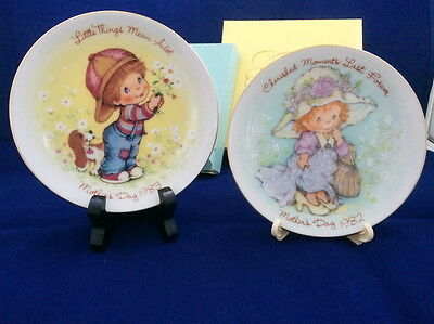 2 Avon 1982 + 1983 Mothers Day Plate S In Boxes Cherished Moments Little Things