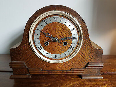 Vintage 1930's Solid Oak Mantle Clock with Original Pendulum (Antique Wall Desk)