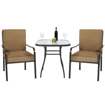 3-Piece Patio Bistro Set Glass Top Table Chairs Outdoor Steel Furniture Brown