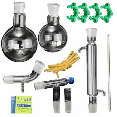 New Lab Essential Oil Water Pure Distillation Glassware Kit w/24/40 Joints