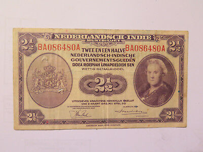 1943 Netherland East Indies 2.5 Gulden Banknote Very Good Condition World War Ii