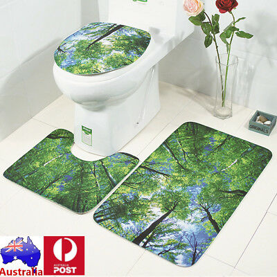 SET 3Pcs Forest Bathroom Set Non-Slip Pedestal Rug + Lid Toilet Cover + Bath Mat