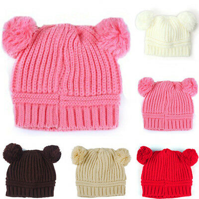 Kinted Ball Fashion Cute Solid Color Beanie Hat Kids Winter Cap Baby Girls Boys