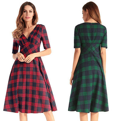Check Tartan Print Vintage 50s 60s Party Swing Dress V Neck Short Sleeve Skater