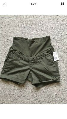 Ladies H&M Mama Khaki Green Summer Maternity Chino Style Shorts UK Size 12 BNWT
