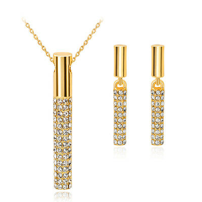 1pc Necklace and 1 Pair Earrings Set Prom Evening Jewelry Sets Gold Rhinestone