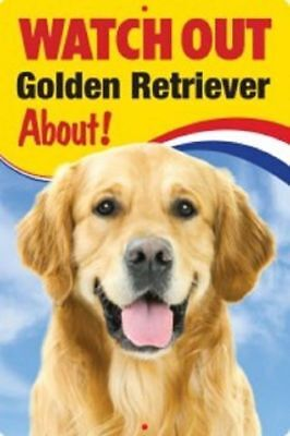 "3D Dog Sign  ""watch Out Golden Retriever About"" Beware Of Dog New Funny"