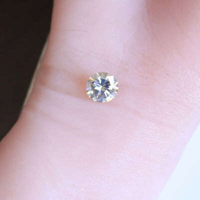 3.91 ct 10.70 mm VVS2 Off White Yellow, Loose Moissanite Hardness 9.25 Round Cut