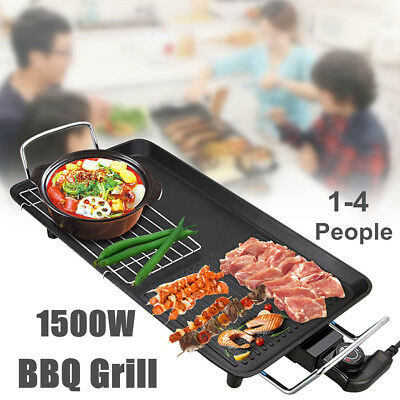 1500W Kitchen Electric BBQ Grill Teppanyaki Griddle Non Stick Surface Hot Plate