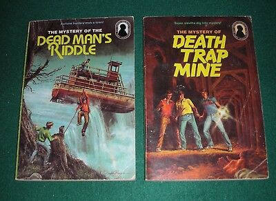 Hitchcock & 3 Investigators #22,24~Lot of 2 PB~Dead Man's Riddle,Death Trap Mine