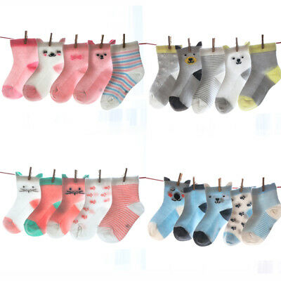 Urkutoba Kids Baby Boy Girl Socks 5-Pack Cotton Mesh Breathable Cartoon Socks