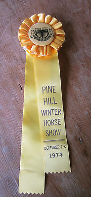 Vintage Pine Hill Winter Horse Show December 7-8 1974 Yellow Horse Show Ribbon